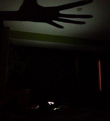 寝ない子だれだ。iPhoneライトで影絵遊び。