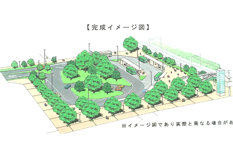 「流山おおたかの森駅西口ロータリー」の完成イメージ図。