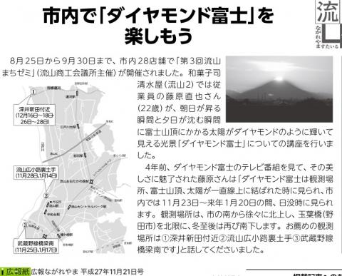 11月、12月は江戸川土手付近から「ダイヤモンド富士」が見れる!