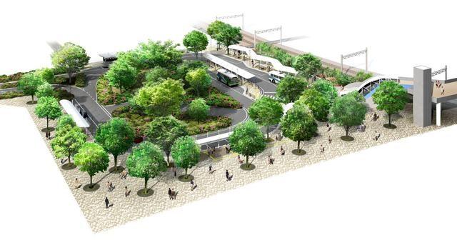 流山おおたかの森駅西口駅前に広場を移設。
