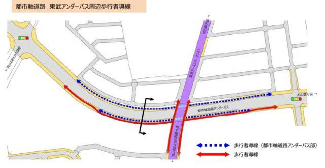 都市計画道路の東武アンダーパス開通で渋滞解消か。
