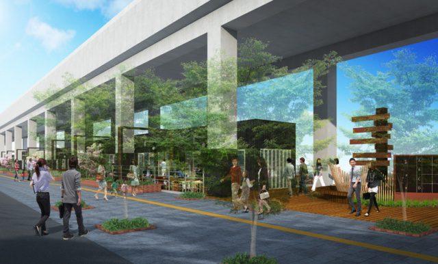 「柏の葉キャンパス駅」の高架下に商業施設。2018年6月 開業予定。