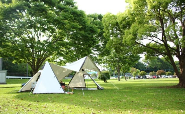 テント設営練習に最適「野田市スポーツ公園」。