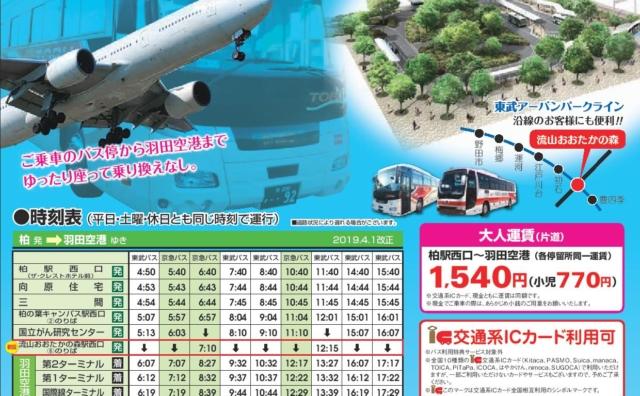 流山おおたかの森駅西口から空港連絡バス(詳細編)。