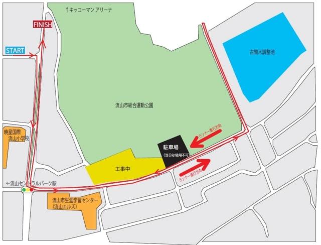 流山ロードレース大会ファンラン(2km)コース