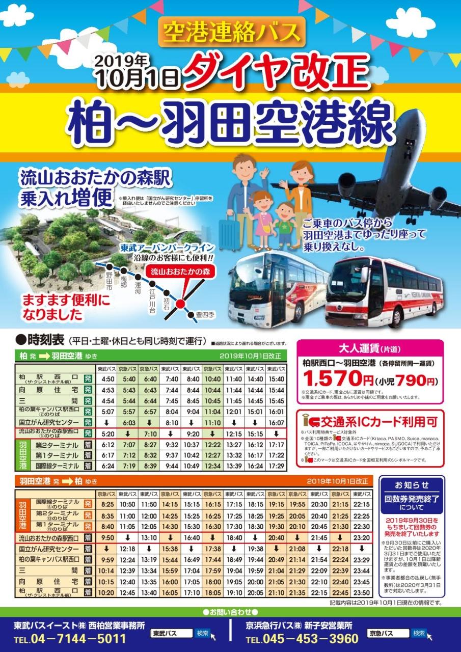 流山おおたかの森駅発の羽田空港バス路線