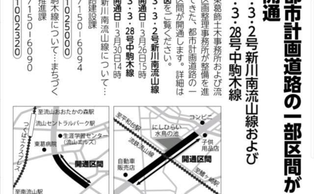 流山市都市計画道路の開通続々。